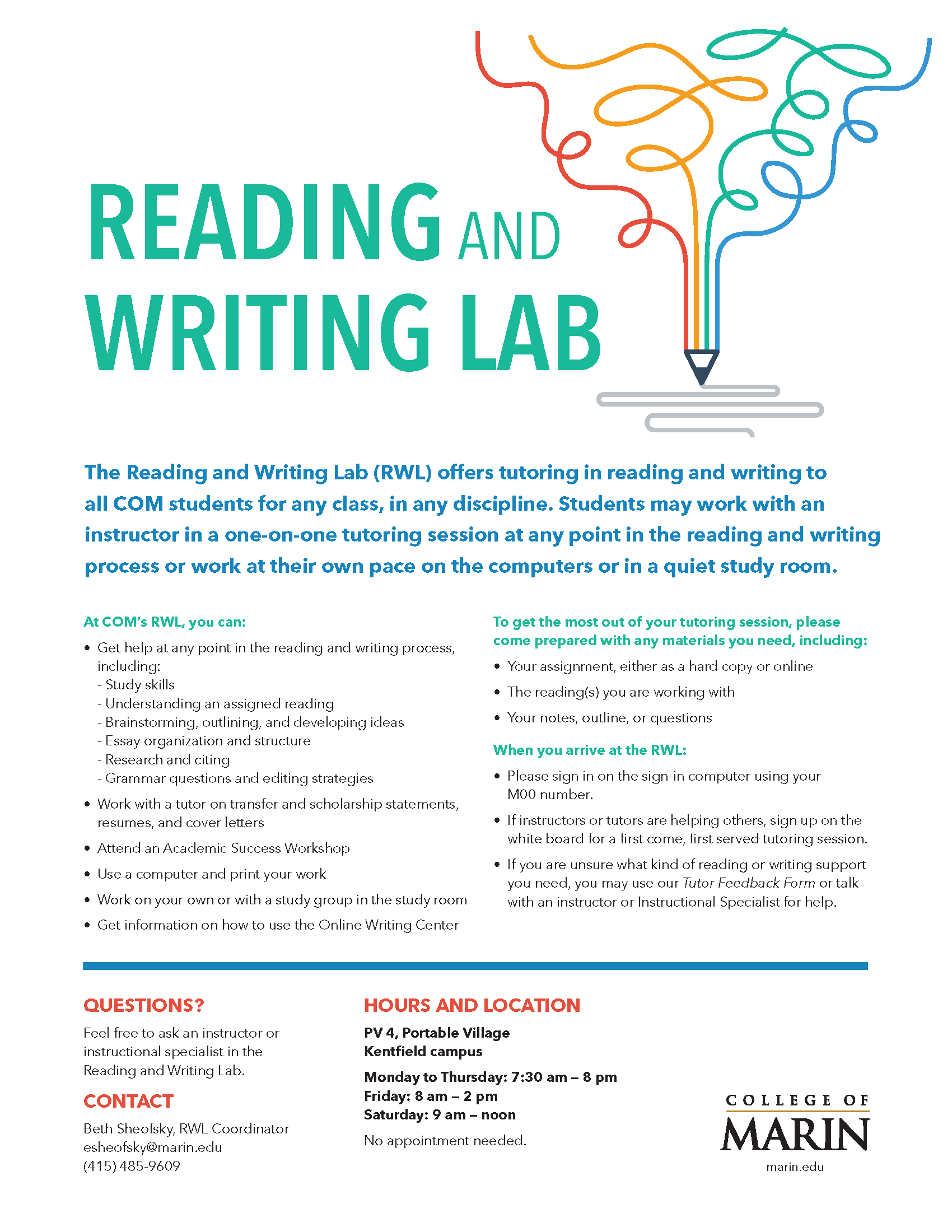 Reading and Writing Lab flyer