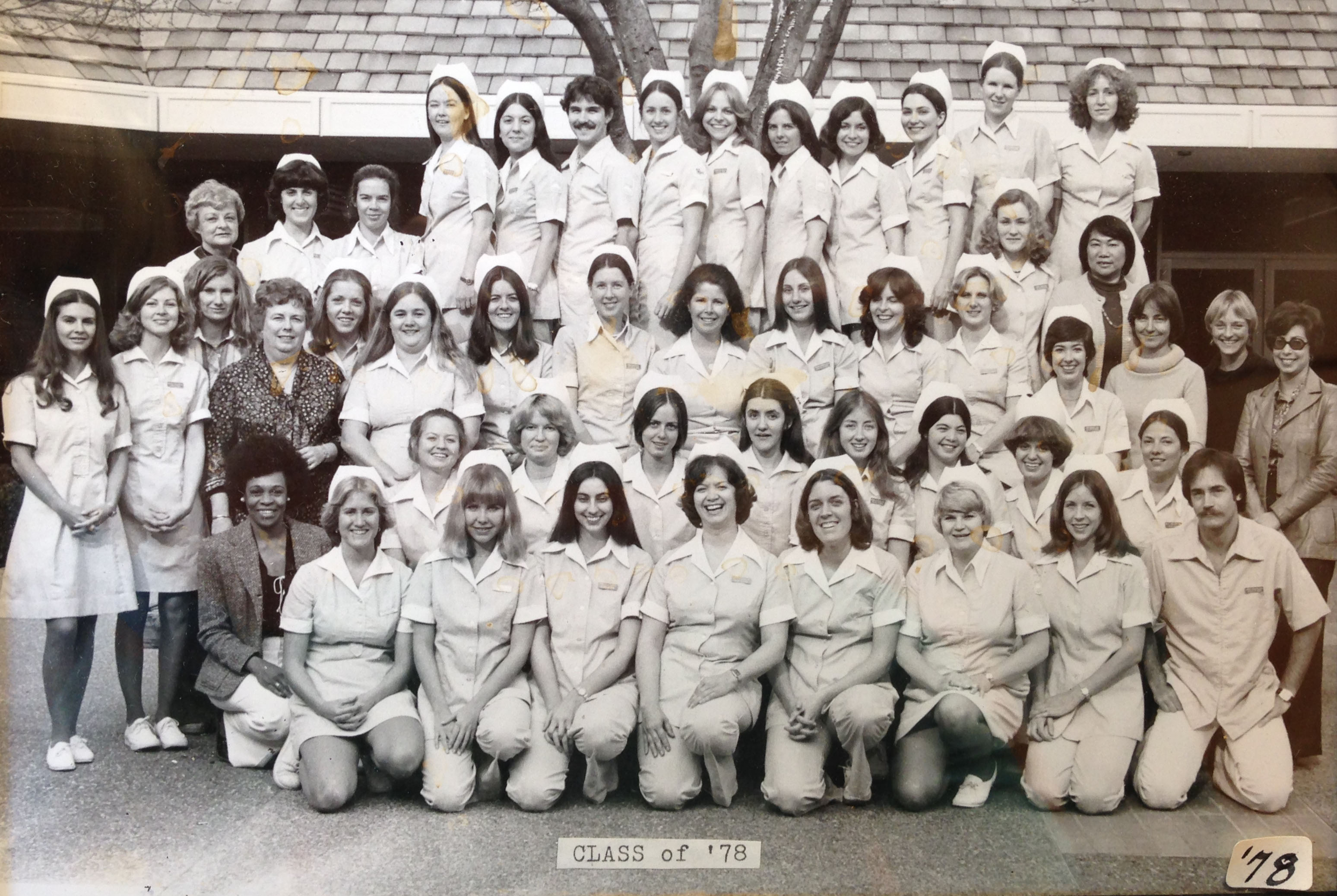 black and white photo of registered nursing class of 1978