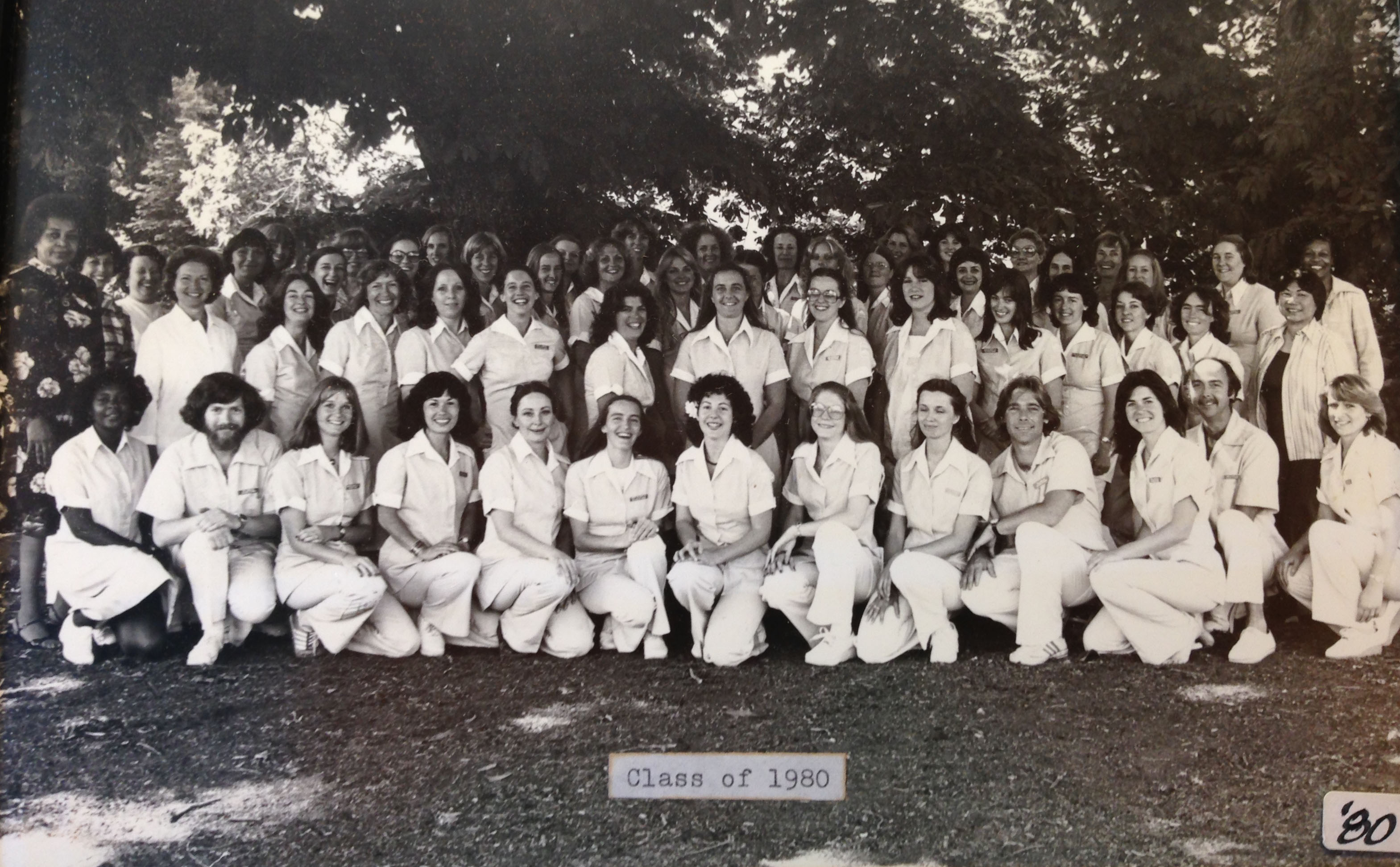 black and white photo of registered nursing class of 1980