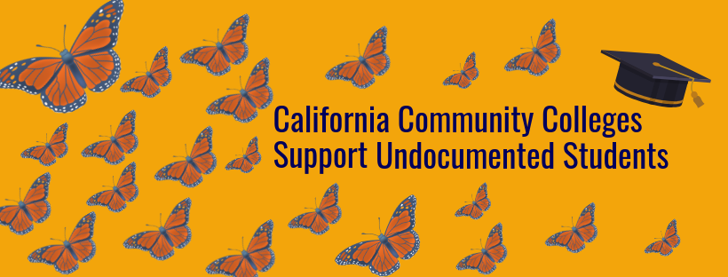 Butterflies and a graduation cap. Text reads California Community Colleges Support Undocumented Students