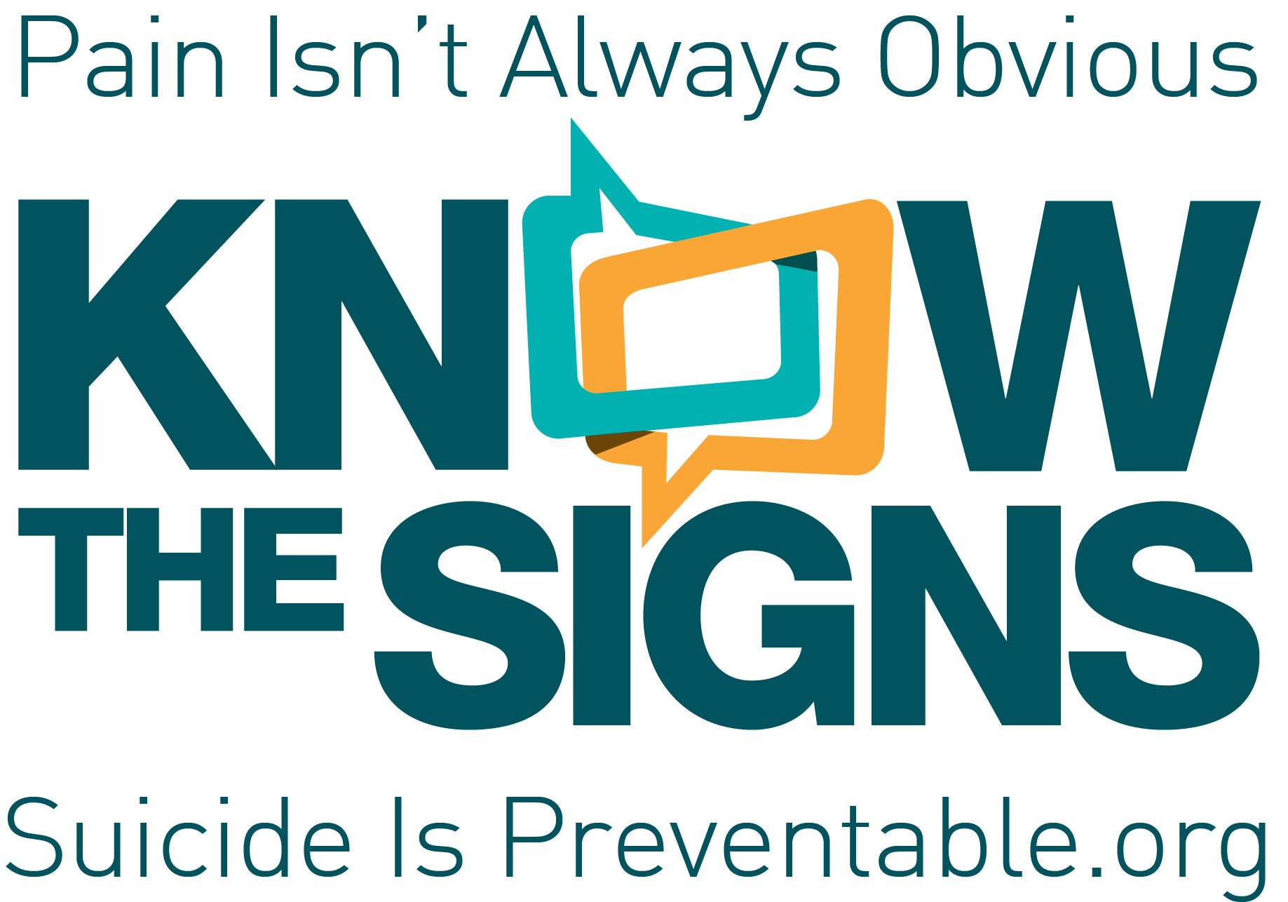 Know the Signs logo. Suicide is preventable.