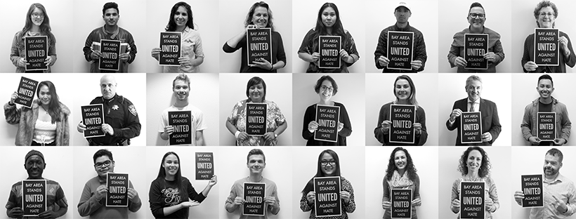 Collage featuring College of Marin students, faculty, and staff holding signs that read: Bay Area Stands United Against Hate