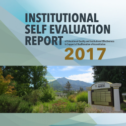 Cover of COM institutional self evaluation report 2017 with photo of Mt. Tamalpais