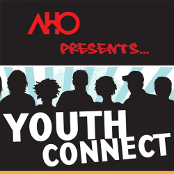AHO Presents Youth Connect graphic with students silhouetted